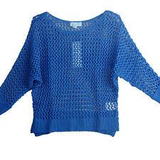 Blue open knit crochet croppe sleeve bat wing viscose top