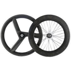 Track Bike Wheelset  56mm Tir Spokes  88mm Fixed Gear Carbon Wheel 17 Teeth 700C