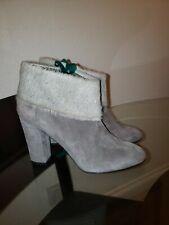 "New Delman gray suede cow fur Boot, size 7 made italy block heel 3"""