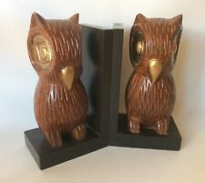 Wise Owl Solid Walnut Bookends Pair Carved Wood Pier 1