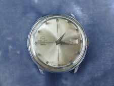 LARGE VINTAGE SWISS MID CENTURY 38MM  BULER WIND UP DATE WATCH AS IS