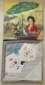 Vintage Hand Embroidered Irish Linen Hankies Linenhall Handloom Ireland Boxed