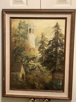 Landscape Painting Oil On Masonite Board Signed Meier. Telegraph Hill SF. 50-60s