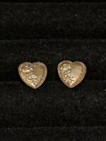 Vintage Etched Silver Tone Heart Stud Earrings