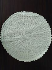 """Crochet Full Lace 12"""" Round white Color Cushion Cover Hand made"""
