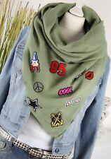 TUCH XXL SCHAL mit PATCHES Fashion Sticker Schal Tuch OLIV GRÜN SCARF NEU H/M-65