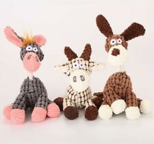 Pet Toy Donkey/ Dog. Squeaky plush toy With Rope. beige gray and Brown,