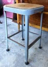 Vintage Industrial Lyon Grey Blue Metal & Wood Seat Stool Aurora Ill. York Pa