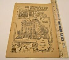 Lafayette Square Opera House December 1899 Bill of the Play Theater Program