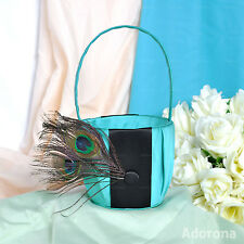 Turquoise Satin Feathers/ fur Flower Girl Baskets