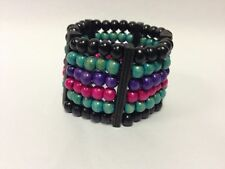 Claire's Accessories Beaded Dark Multi Coloured Stretchy Small Bracelet