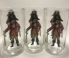 3 McDonalds Glass Captain Crook Collector Series 1970's Vintage Collectible Cup