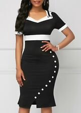 Plus size Women Bodycon Black/White Dress Cocktail Office Elegant Designer