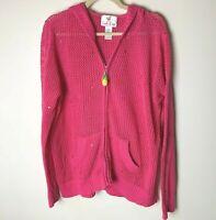 Quacker Factory Women's Cardigan Sweater Size Large Hoodie Open Weave Sequins