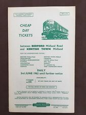 British Railways handbill Cheap day  tickets BEDFORD and KENTISH TOWN 1962