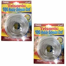 Trisonic Telephone Extension Cord Phone Cable Foot White 100Ft. 2-Pk