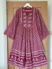 vtg 70s indian cotton dress s m l boho hippy art 60s block print smock tent ooak