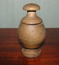 Antique vintage primitive wood wooden pepper mill grinder Lithuania Europe #5