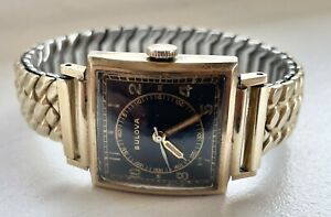 Vintage 1948 Bulova 10K Rolled Gold Plate Black Dial USA Made Watch 10BCC NR