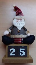 Wooden Days To Christmas Calender Countdown Block Cube Santa