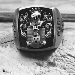 Coat Of Arms Ring Family Crest Rings For Men Unique Mens Signet Ring Man Silver