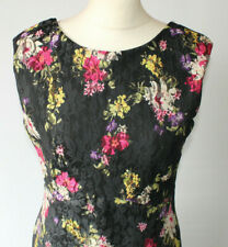 Floral Lace Shift Dress Jane Norman Dark Multicolour Wedding Event Races UK 14