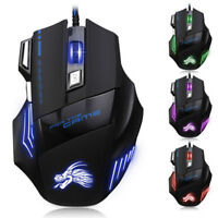 5500DPI LED Optical USB Wired Gaming Mouse 7 Buttons Gamer Laptop PC Mice QY