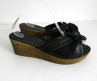 "M&S Size UK 6 Lovely Black Leather Slip on Sandals 2.5"" Wedges Heels VGC"