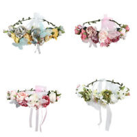 Women Ribbon Band Flower Headband Wedding Garland Bridal Party Beach Wreath Hot