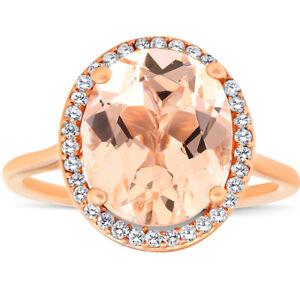5 1/2 Ct TW Halo Diamond & Oval 10x12 Morganite Ring 14k Rose Gold
