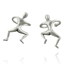 Climbing Man Ear Cuff Earrings - 925 Sterling Silver - Men Wrap Pair Funny Gift