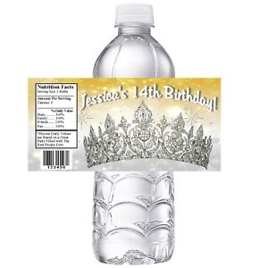 20 PRINCESS TIARA CROWN GOLD SILVER BIRTHDAY PARTY FAVORS WATER BOTTLE LABELS