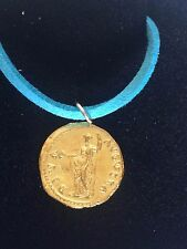 """Aureus Of Galba Coin WC23 Gold Made From Pewter On  18"""" Blue Cord Necklace"""