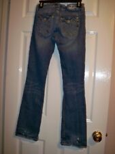MEK DENIM USA Medium Blue Jeans 27/32 Slight Flare Leg Low Rise