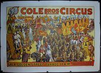 c. 1930s Cole Bros Circus Gala Golden Street Parade 11 AM Poster Vintage