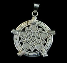 Handcrafted Solid 925 Sterling Silver Witch's Broom Universal Pentacle Pendant