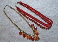 VINTAGE TO NOW RED & ORANGE RESIN & GLASS BEADED BOHO NECKLACE LOT