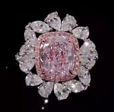 Light Pink Cushion Sapphire With Mixed Shape Cubic Zirconia Cluster Wedding Ring