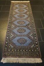 Orientteppich Handgeknüpfter Buchara Jomut Läufer Blau 170cm x 65cm Carpet Tapis
