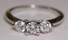 LADIES SITARA 18K WHITE GOLD 3-STONE DIAMOND ENGAGEMENT RING .49 CTTW SIZE 3 1/2