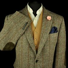 """Vtg Harris Tweed Tailored Checked Country Hacking Jacket 44"""" #566"""
