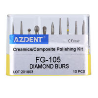 10pcs/set Dental Diamond Burs Creamics/Composite Polishing FG-105