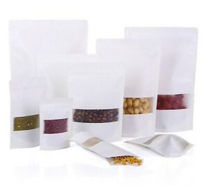 White Paper Food Storage Sealable Bag Window Pouch Zip Lock Resealable Heat Seal