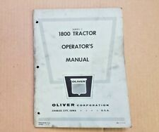 Operators manual for Oliver 1800 Tractor