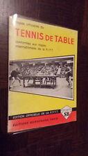 REGLES OFFICIELLES DU TENNIS DE TABLE - 1974