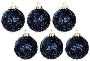 Christmas Tree Tinsel Baubles Decorations - Midnight Navy Blue (Set of 6)