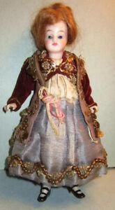 "Early Antique German Kling 6 1/2"" Bisque Mignonette Doll Peg Jointed Fantastic"