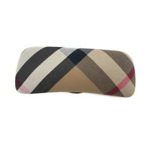 Burberry Plaid Eyeglass Sunglass Case Hard Clam Shell Velvet Lined Made in Italy