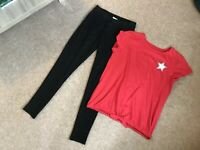 Girls Next Black Sparkly Leggings 12yrs And New Nutmeg Red Sparkly Top 12/13yrs