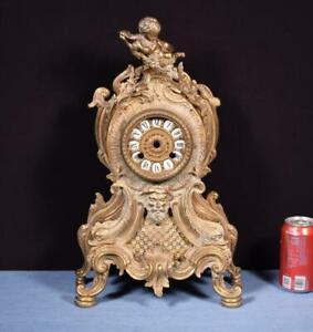 *Vintage Bronze Mantel Clock Case With Cherub-No Clock Works